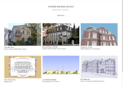 Architekt R. M. Klotz - Projekte